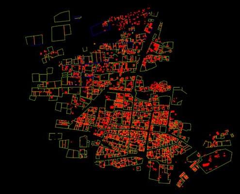 نقشه برداری هوایی شهر نگور نقشه کاداستر